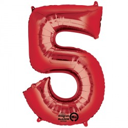 Foil Numbers Metallic Red Balloons | 34""