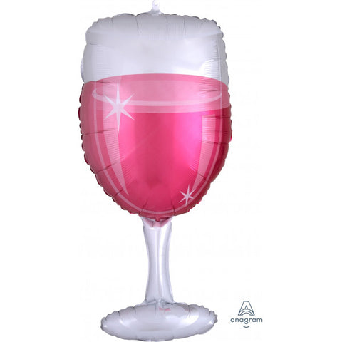 Foil Shape Rose Wine Glass Balloon P35 | 31""