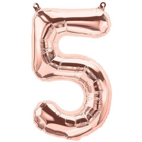 Foil Numbers Metallic Rose Gold Balloons | 16""