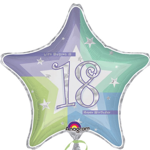 Multiple Designs - Foil Star Shimmer Milestone Birthday Balloons | 18""