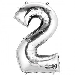 Foil Numbers Metallic Silver Balloons | 16""