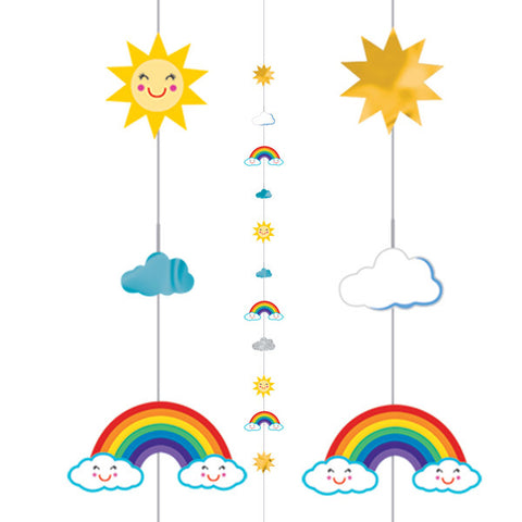 Colourful Rainbow, Sun & Clouds Balloon Fun String | 1.82m