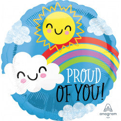 Click & Collect Foil Round Sunshine &  Rainbow Proud of You Balloon | 18""