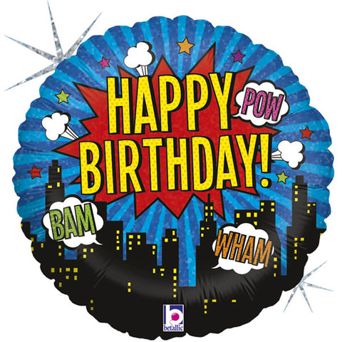 Foil Round Happy Birthday Super Hero Balloon | 18""
