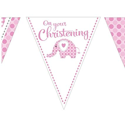 Christening Girl Paper Bunting | 12ft