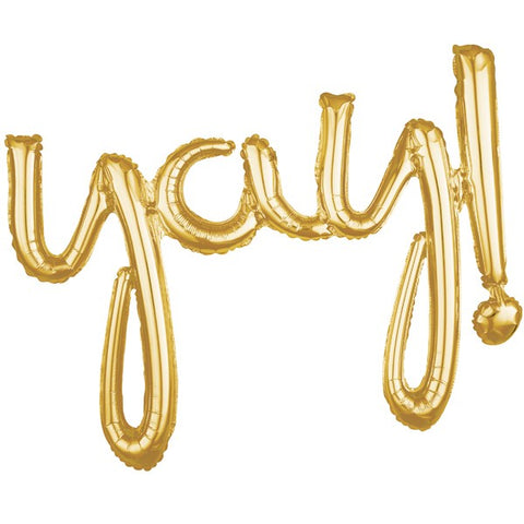 "Balloon Banner Script Gold ""yay!"" 