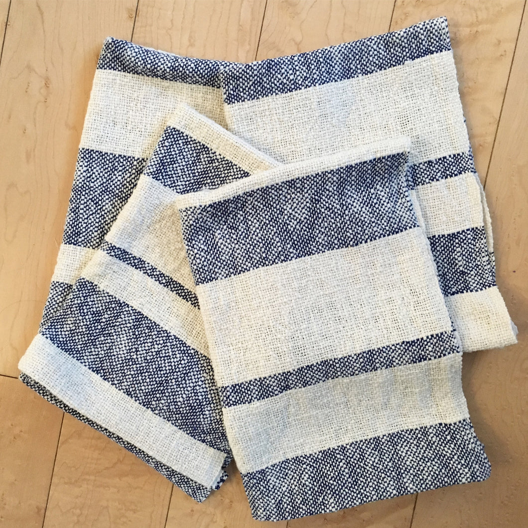 Navy Blue Striped Dish Towel