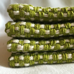 Set of 6 Lime Green Placemats Handwoven