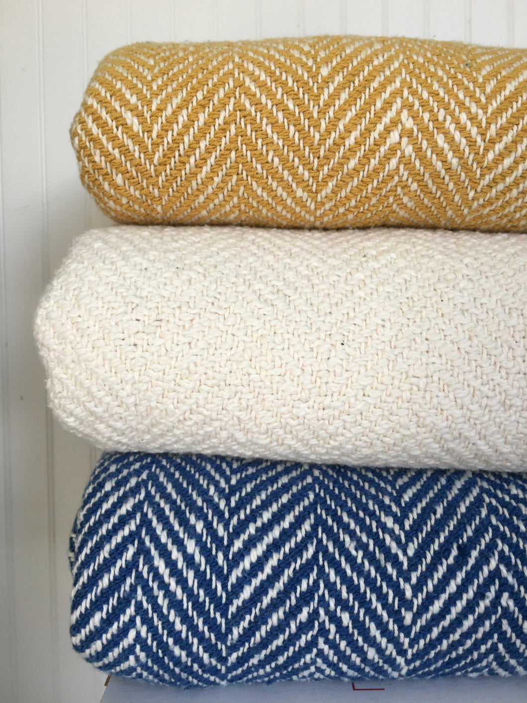 White Woven Blanket Herringbone Throw Cream Throw