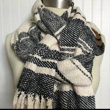 Woven Blanket Scarf Woven Scarf Black and White Scarf