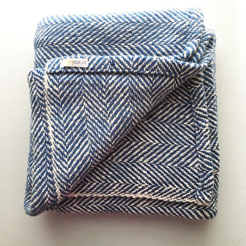 Navy Woven Blanket Herringbone Throw