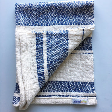 Cotton Dish Towel • Navy Blue and White