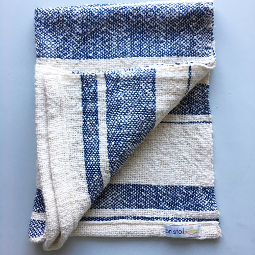 Cotton Dish Towel Woven Towel Navy Blue and White