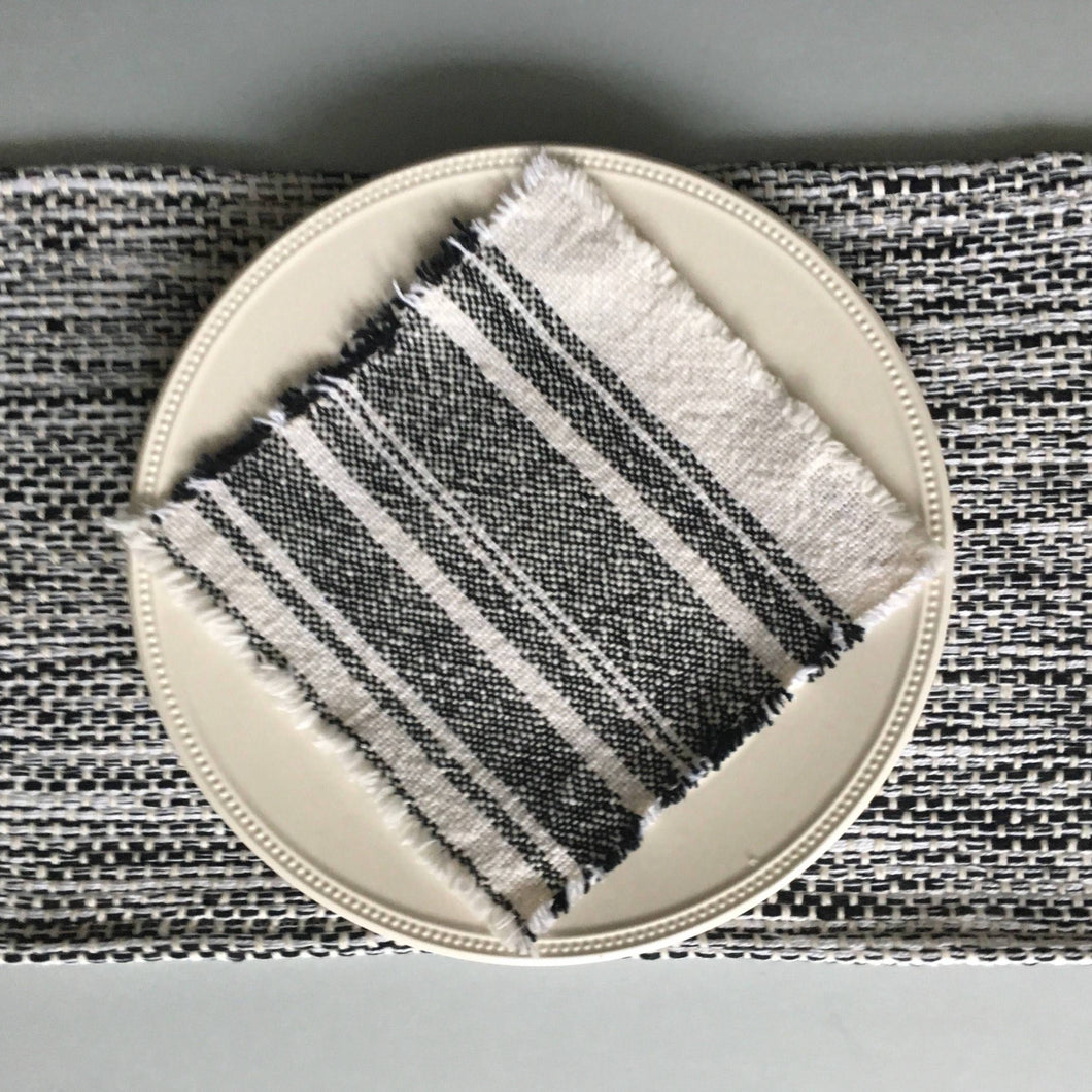 Set of 6 Black and White Placemats Handwoven