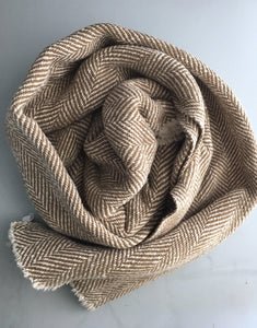 Woven Blanket Herringbone Throw Khaki Tan Blanket