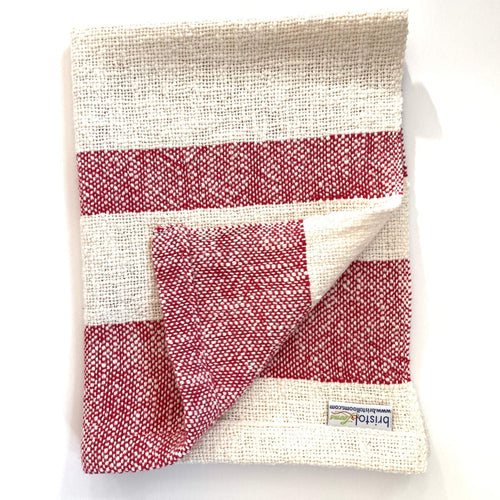 Cotton Dish Towel •  Red and White • Handwoven