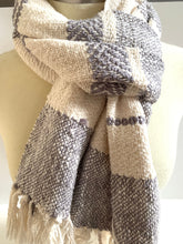 White and Gray Scarf • Wide Boho Blanket Scarf