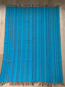 Aqua Blue Cotton Throw • Cotton Blanket