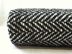 Herringbone Woven Blanket Black and White