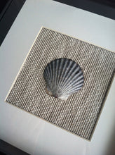 Scallop Shell Wall Hanging Natural Linen Frame Coastal Wedding