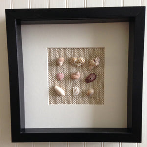 Shell Wall Hanging Natural Linen Frame Coastal Wedding
