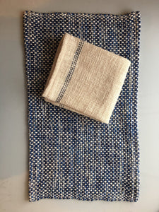 Navy Blue Striped Tea Towel Woven Dish Towel