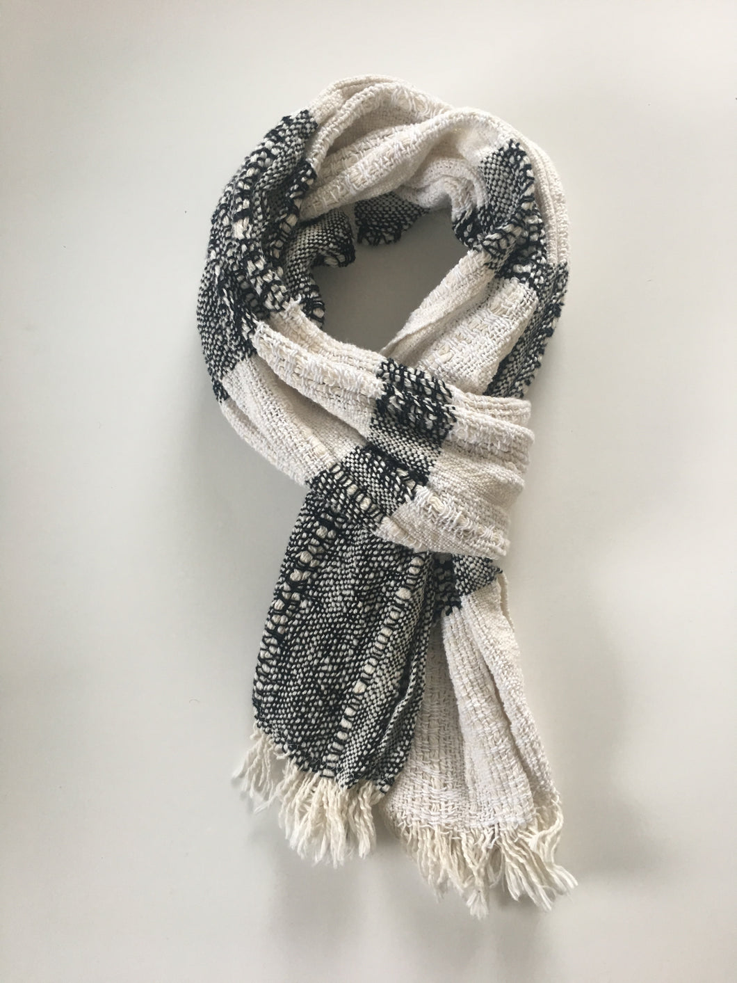 Black and White Boho Scarf