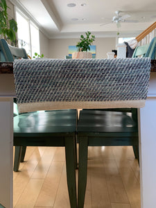 Gray / Teal Cotton Table Runner
