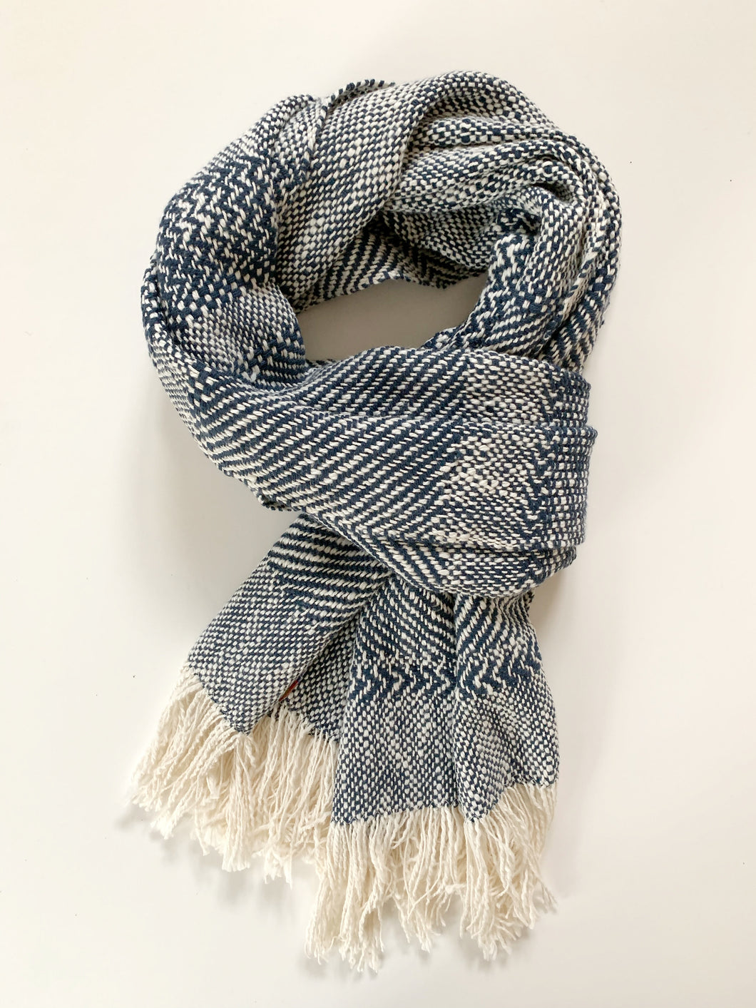 Navy Blue Pattern Scarf • WIDE