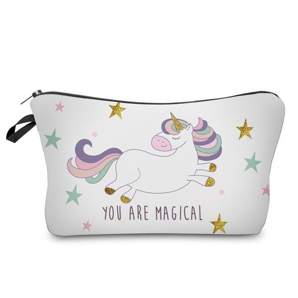 Unicorn Printing Cosmetic Bags Cute Organizer Women Makeup Tools & Accessories for Travel Size 18-22cm*13.5cm*2cm - Drinkay