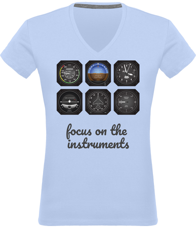 Tee Shirt Pilote Avion instruments - Drinkay