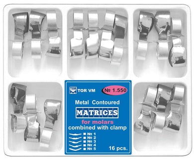 Dental Metal Contoured Matrices Matrix Combined with Clamp, 16 pcs.(1.550)