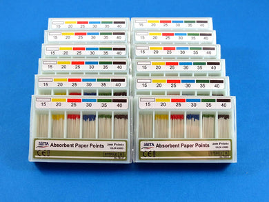 New Dental Absorbent Paper Points Color Coded 200 Points No 15/40 Set Of /12 Boxes META