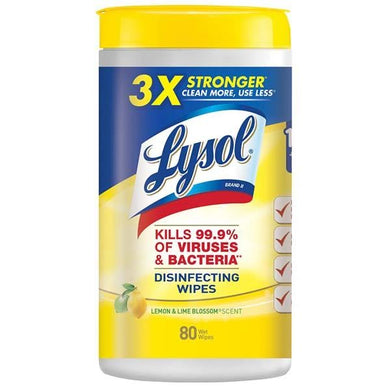 Lysol Disinfecting, 480 6 Packs of 80 Wipes Lemon