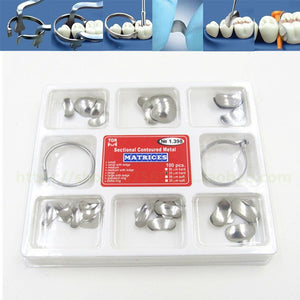 New 100Pcs/Set Dental Sectional Contoured Matrices Matrix No.1.398 With Standard Delta Ring For Teeth Whitening Dentist Products