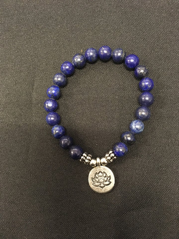 Lapis Lazuli With Lotus Flower Charm - Oils & More By Jodie