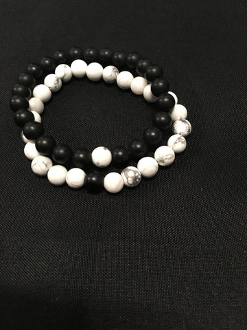 Black Obsidian And White Howlite Healing Bracelet - Oils & More By Jodie