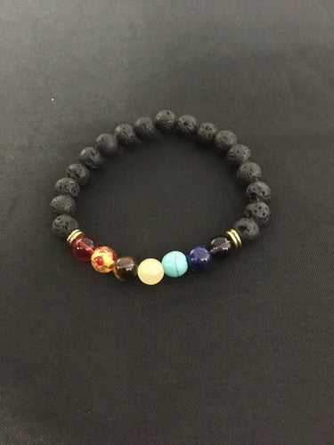 Chakra Healing Bracelet With Lava Stone - Oils & More By Jodie