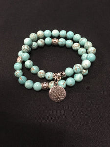 Turquoise With Tree Of Life Charm Bracelet - Oils & More By Jodie