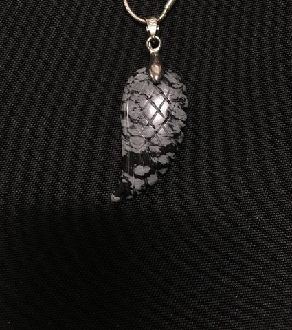 Obsidian and grey Angel Wing Pendant - Oils & More By Jodie