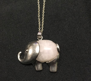Cloudy Quartz Crystal Elephant Pendant - Oils & More By Jodie