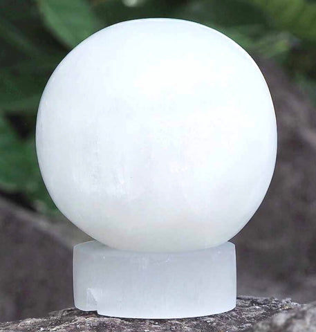 White Selenite sphere lamp - Oils & More By Jodie