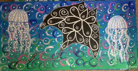 Stingray and jellyfish painting - Oils & More By Jodie