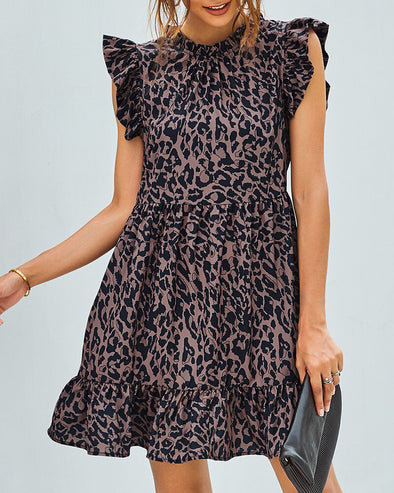 ZESICA Leopard Print Ruffled Hemline Mini Dress