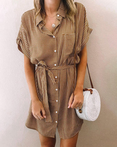 ZESICA Plaid Pocketed Shirt Mini Dress