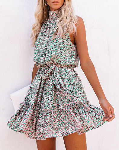 ZESICA Halter Sleeveless Floral Mini Dress