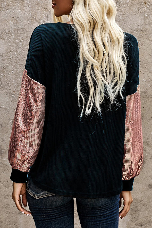 ZESICA Sequin Splicing Top