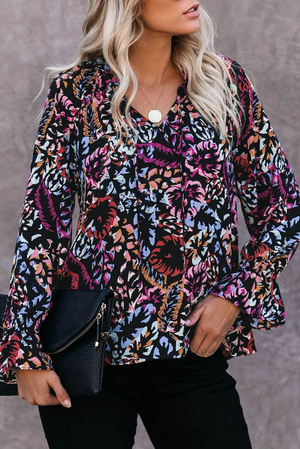 ZESICA Split Neck Printed Blouse