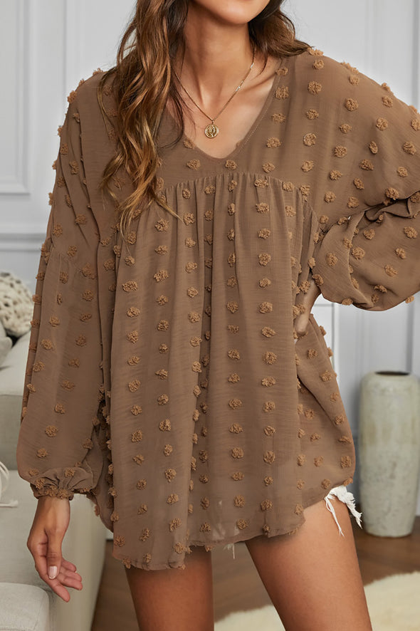 ZESICA Polka Dot Lantern Sleeve Top