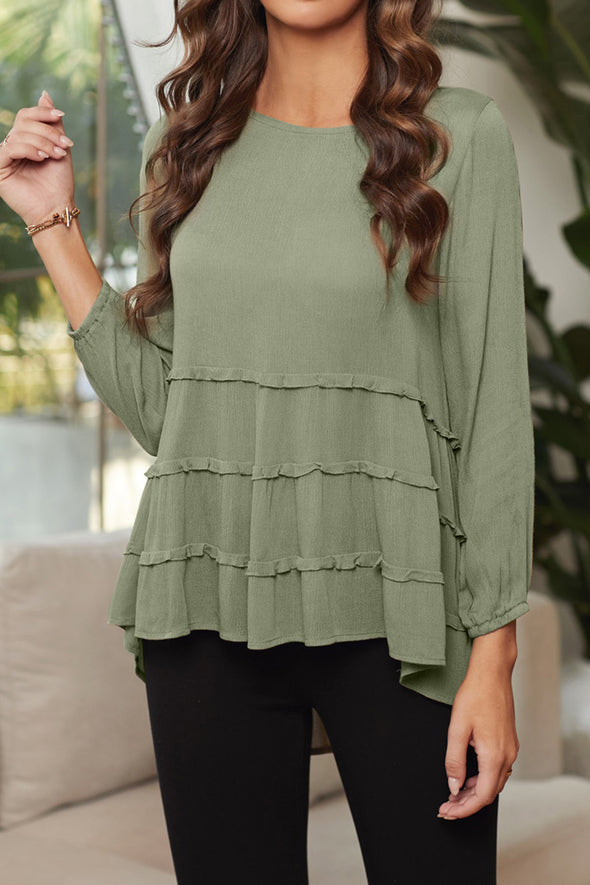 ZESICA High-low Hem Ruffle Top
